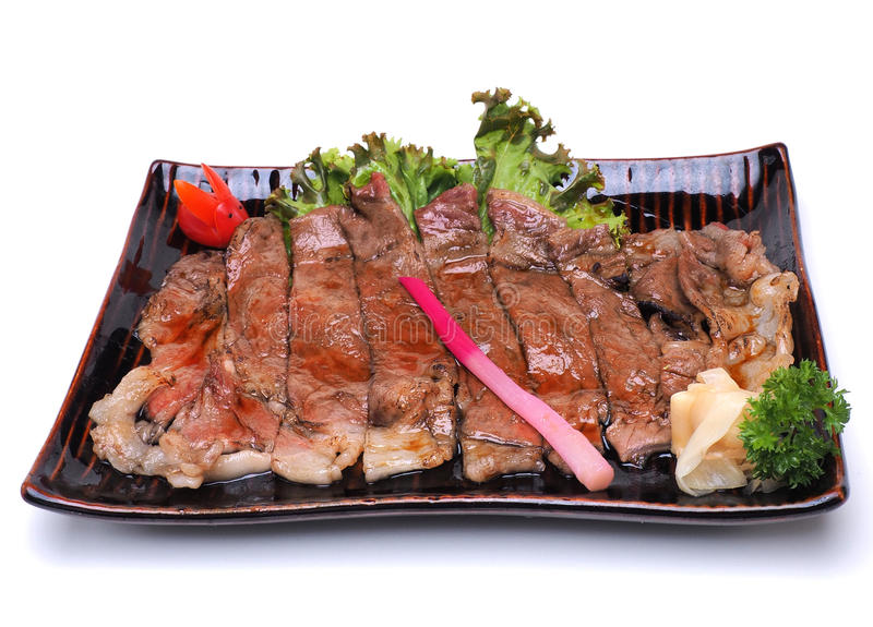 Wagyu Beef Teriyaki , isolated on white background Clipping pat royalty free stock images