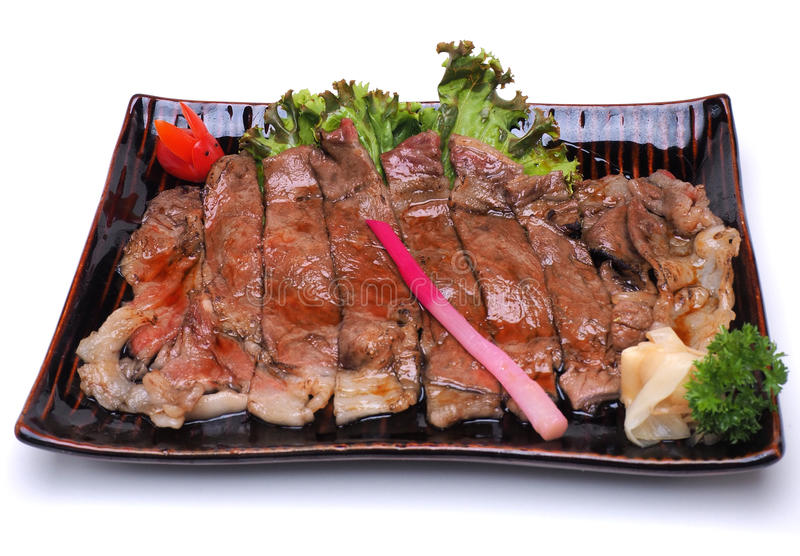 Wagyu Beef Teriyaki , isolated on white background Clipping pat stock photography