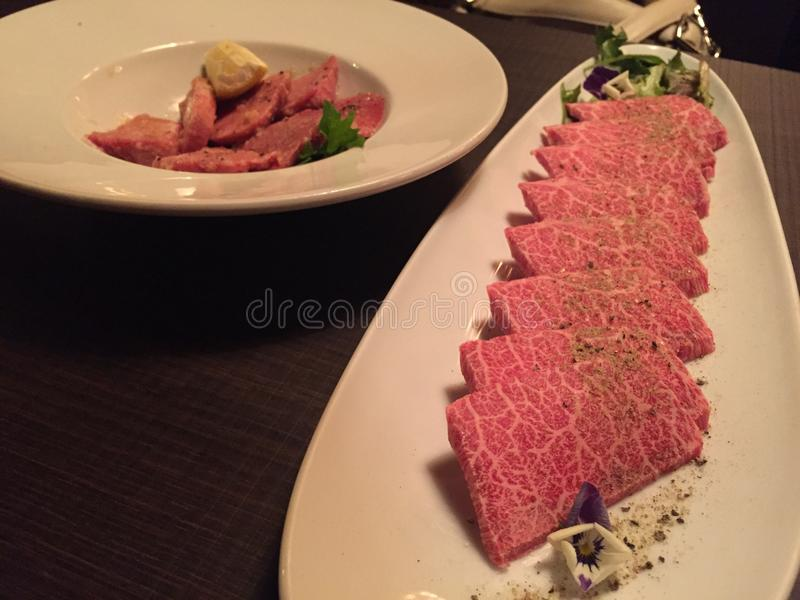 Wagyurundvlees bij Japans restaurant stock foto