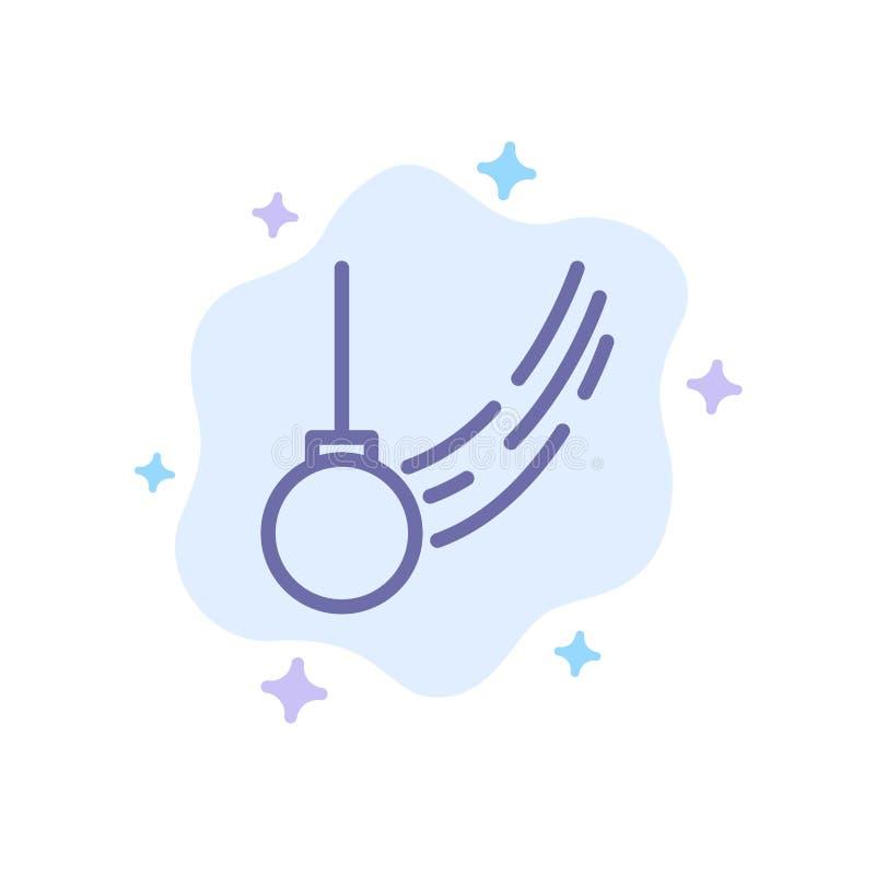 Wahadło, huśtawka, Wiążąca, piłka, ruch Błękitna ikona na abstrakt chmury tle ilustracja wektor