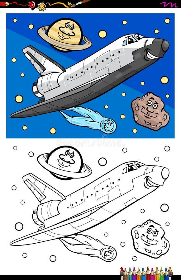 Wahadłowa kosmicznego charakteru kolorystyki książka royalty ilustracja