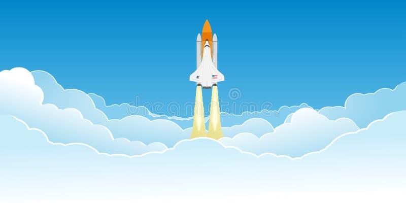Wahadłowa latanie w chmurach ilustracja wektor