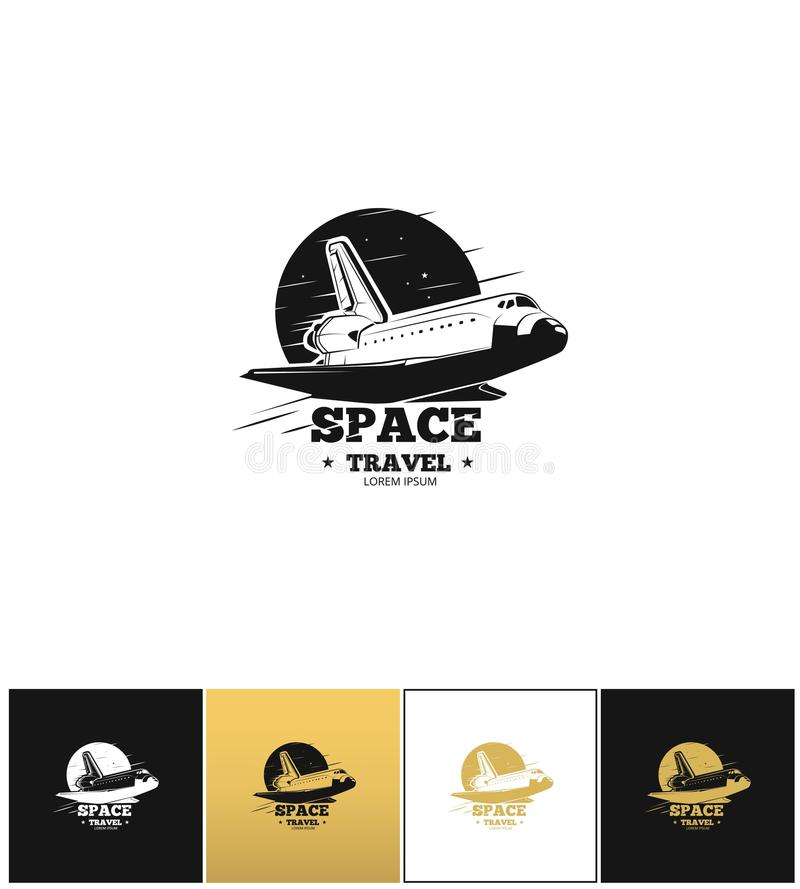 Wahadłowa logo lub podróż kosmiczna wektoru ikona royalty ilustracja