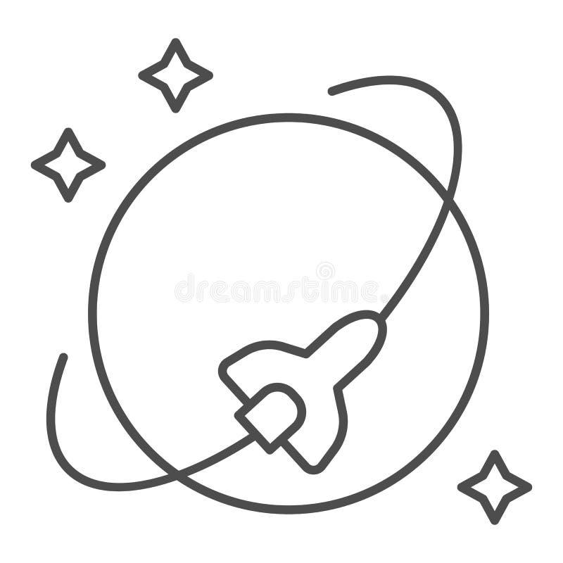 Wahadłowiec kosmiczny orbity cienka kreskowa ikona Statek kosmiczny wektorowa ilustracja odizolowywająca na bielu Rakietowy kontu ilustracji
