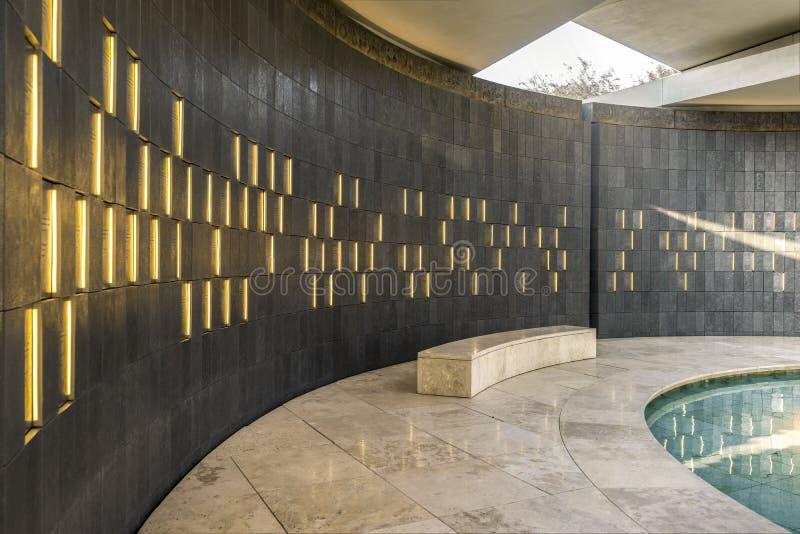 Wahat Al Karama - Pavillion di onore, interno, Abu Dhabi, ottobre 2018 fotografia stock libera da diritti