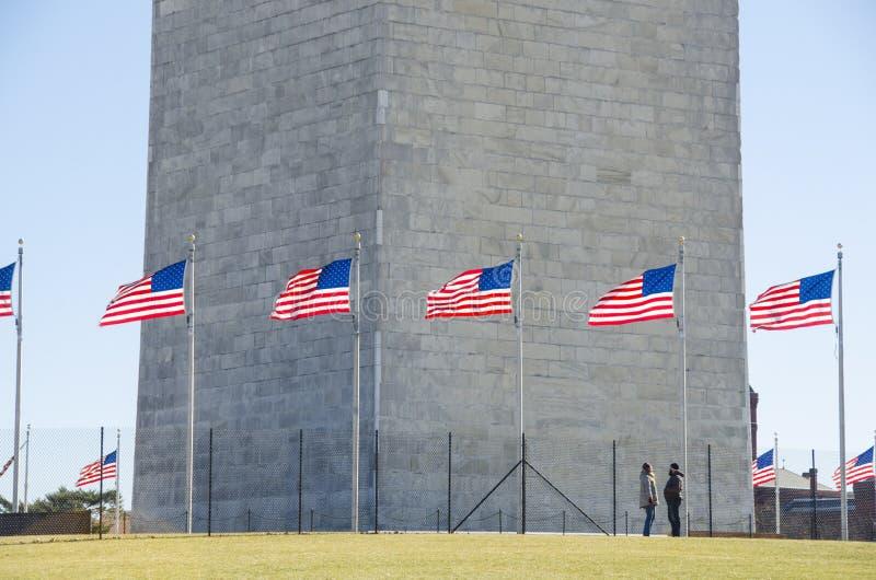 Wahington Monument at the base stock photos
