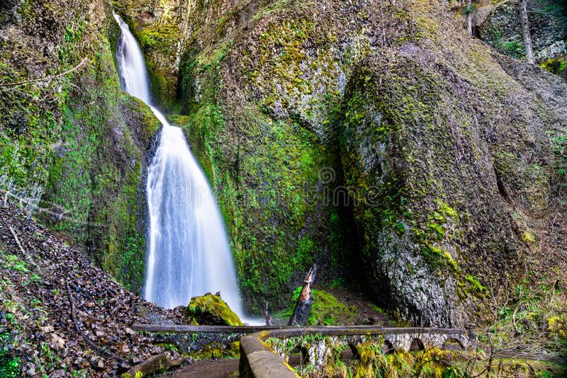 Wahkeena faller i den Columbia River klyftan, USA arkivfoto