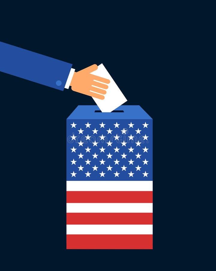 Wahl, Abstimmung und Abstimmung in Staaten von Amerika vektor abbildung