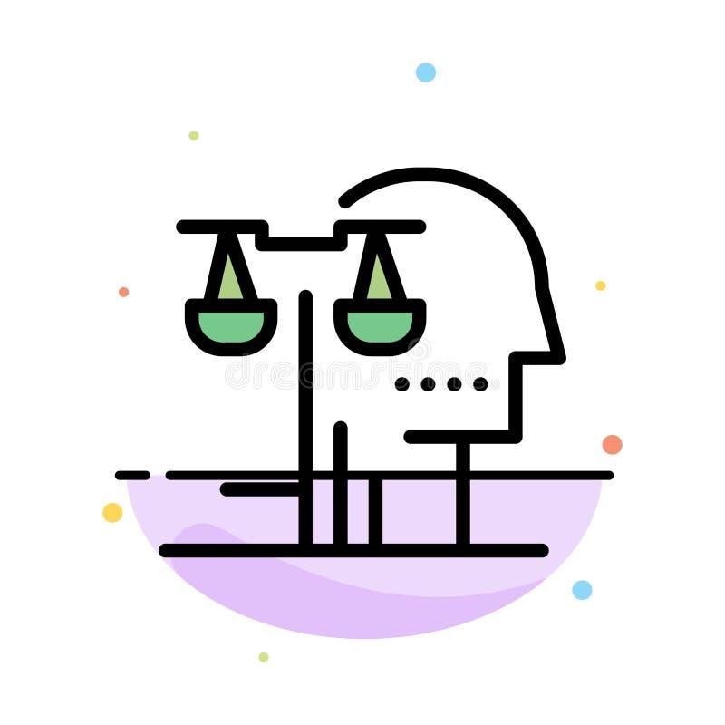 Wahl, Gericht, Mensch, Urteil, Gesetzeszusammenfassungs-flache Farbikonen-Schablone lizenzfreie abbildung