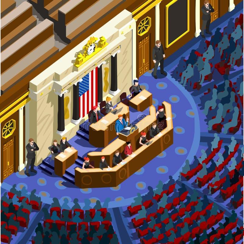 Wahl Infographic-Parlament Hall Us Vector Isometric People lizenzfreie abbildung