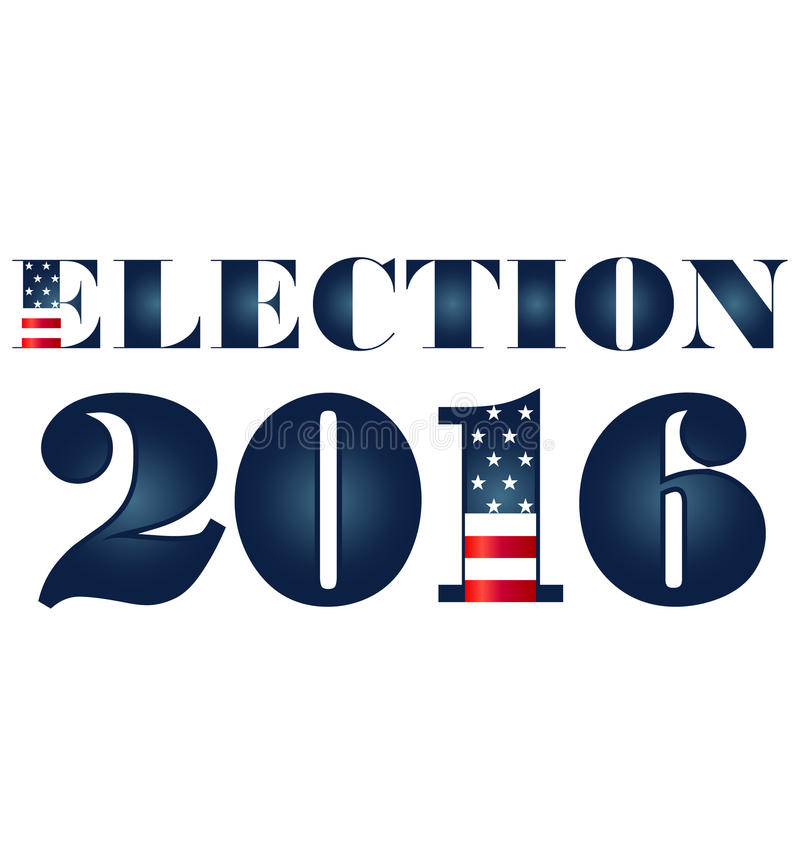 Wahl 2016 mit USA-Flaggenillustration stock abbildung