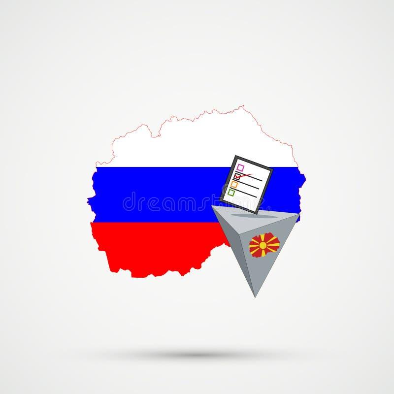 Wahl oder Referendum in Mazedonien Wahlurne und ausschlaggebende Stimme auf weißem Hintergrund Mazedonien-Karte in Russland-Flagg lizenzfreie abbildung