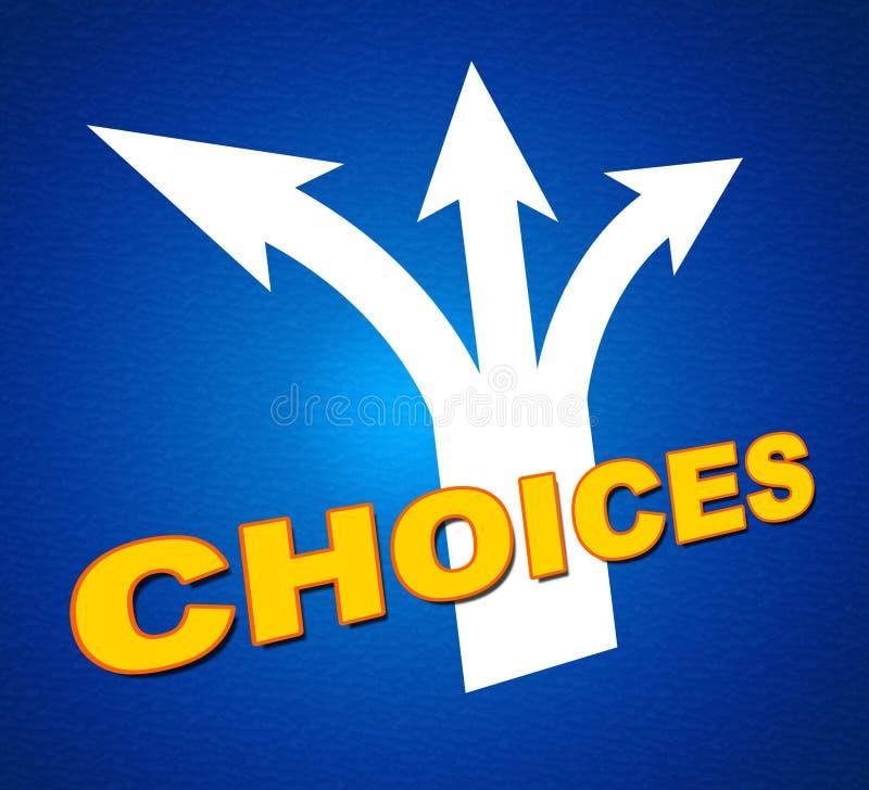 Wahl-Pfeil-Shows, die Alternative und das Zeigen wählen lizenzfreie abbildung