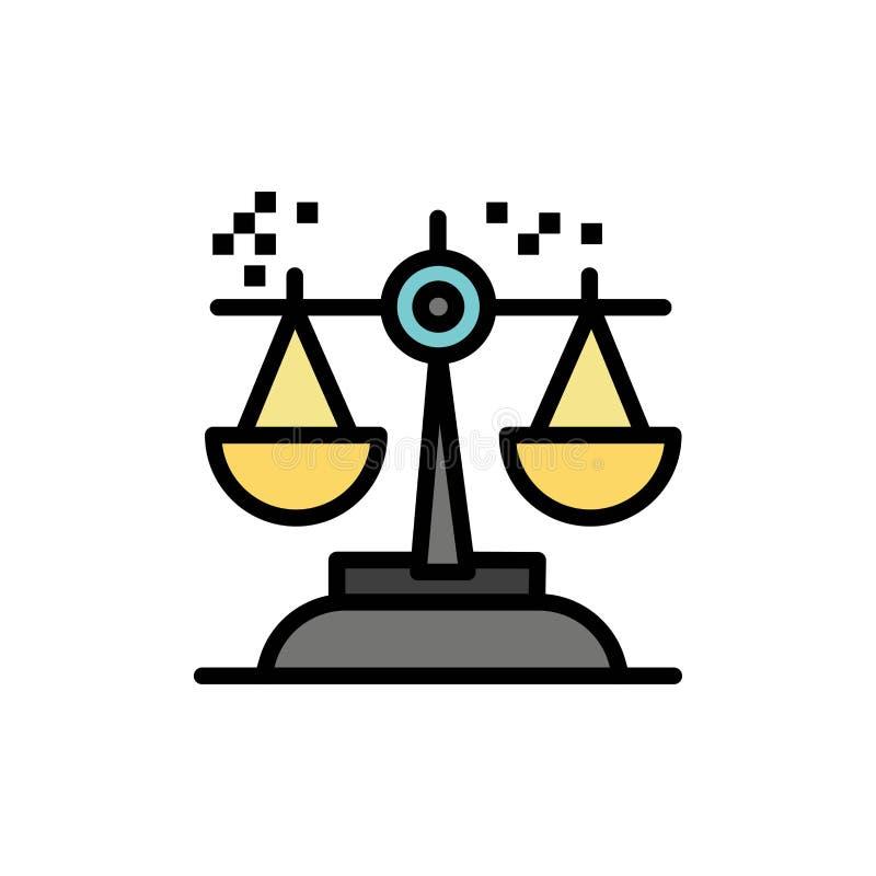 Wahl, Schlussfolgerung, Gericht, Urteil, Gesetzesflache Farbikone Vektorikonen-Fahne Schablone vektor abbildung