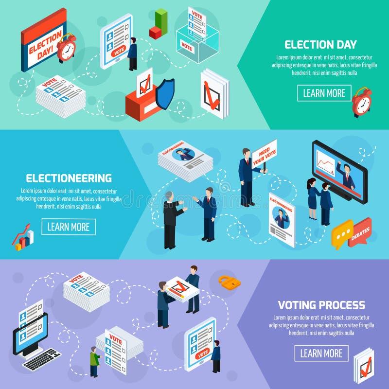 Wahl-und Abstimmungs-isometrische Fahnen lizenzfreie abbildung