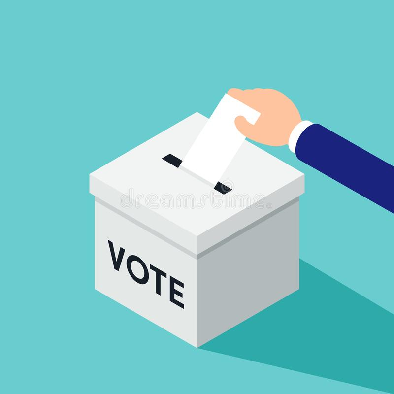 Wahl- und Abstimmungskonzept Geschäftsmann, der einen Stimmzettel in eine Wahlurne einsetzt vektor abbildung
