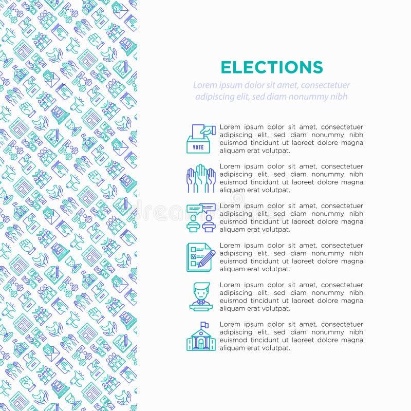 Wahl- und Abstimmungskonzept mit dünner Linie Ikonen lizenzfreie abbildung