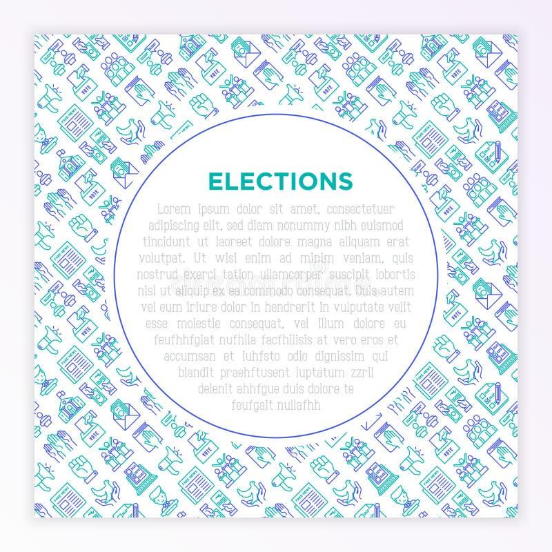 Wahl- und Abstimmungskonzept mit d?nner Linie Ikonen lizenzfreie abbildung