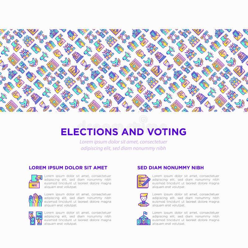 Wahl- und Abstimmungskonzept mit d?nner Linie Ikonen stock abbildung