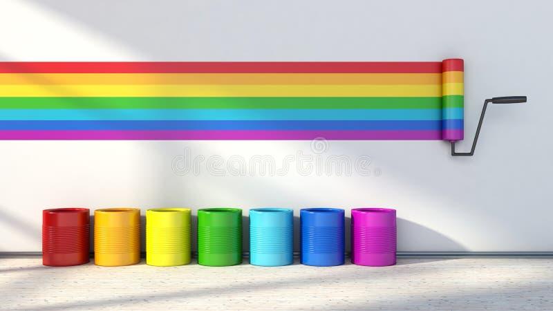 Wahl von Farben für das Malen eines Raumes Farben des Regenbogens stock abbildung