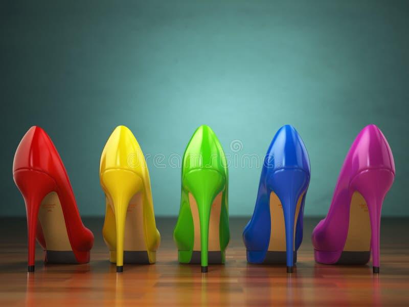Wahl von Schuhen der hohen Absätze in den verschiedenen Farben Fahrwerkbeine und Frauenbeutel auf weißem Hintergrund lizenzfreie abbildung