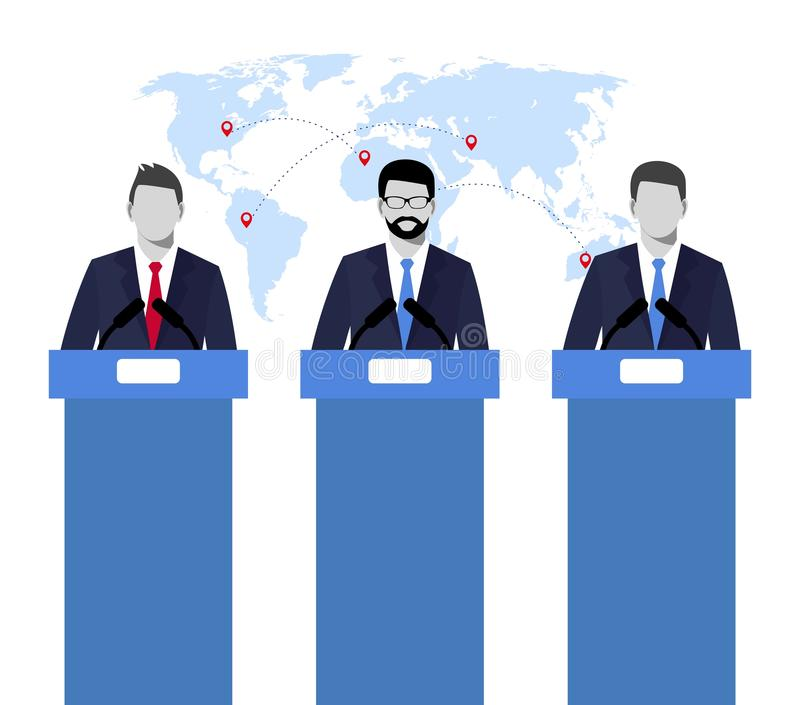 Wahldebatten, Debatte, Sozialdiskussion Illustrationskonzeptillustration von Sprecher politiker Wahl debattiert conc vektor abbildung