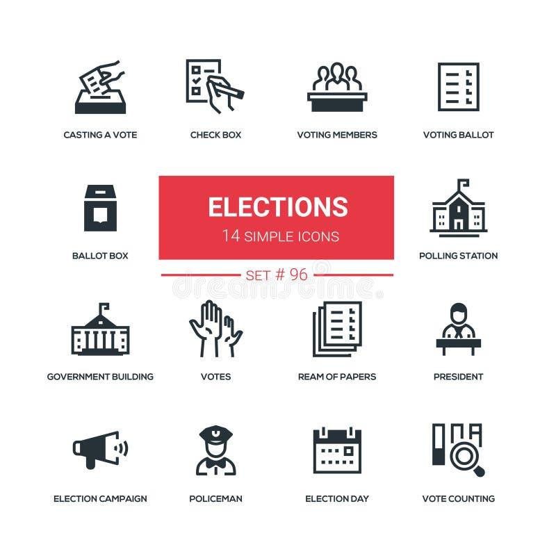 Wahlen - flache Designartikonen eingestellt lizenzfreie abbildung