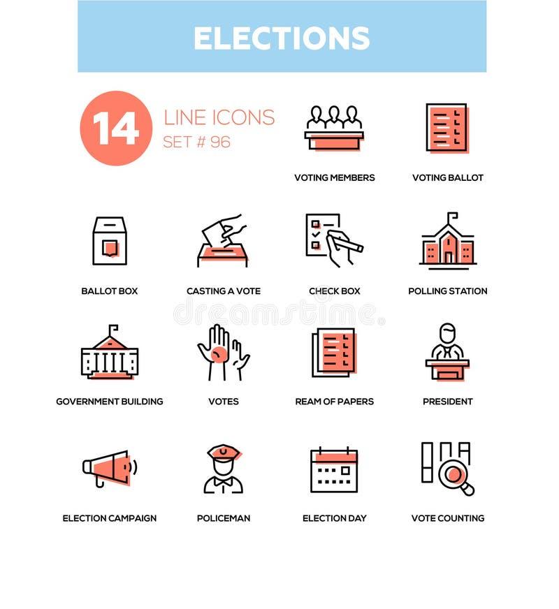 Wahlen - moderne Linie Designikonen eingestellt lizenzfreie abbildung