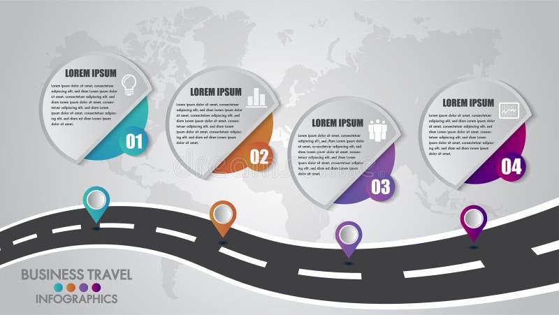 Wahlen Zeitachse Infographics-Schablone 4 entwerfen mit einem Fahrweg und Navigationseinem zeigerplatz für Ihre Daten Auch im cor vektor abbildung