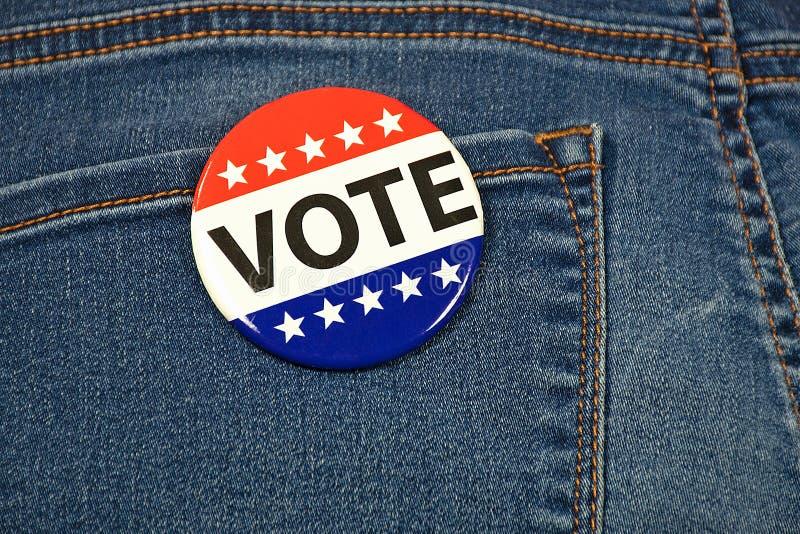 Wahlkampfabstimmung gegen Denim stockfoto