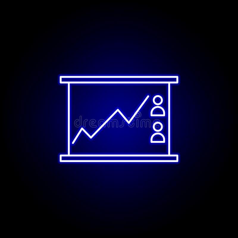 Wahllinie Diagrammikone in der Neonart Zeichen und Symbole k?nnen f?r Netz, Logo, mobiler App, UI, UX verwendet werden vektor abbildung