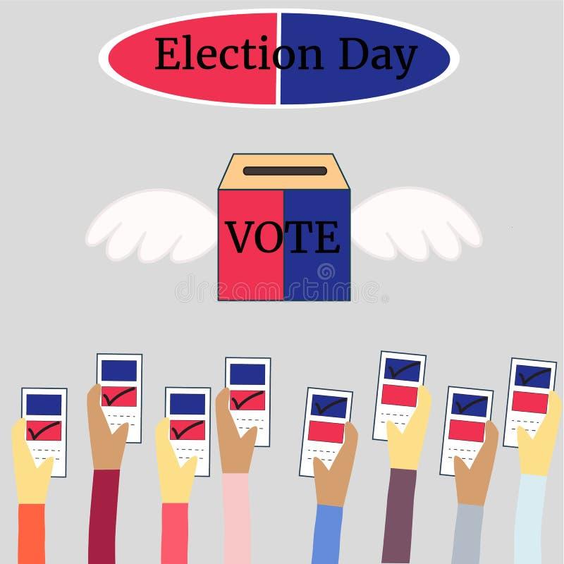 Wahltag, der in der Form-, Politik- und Wahlillustration wählt stockbild