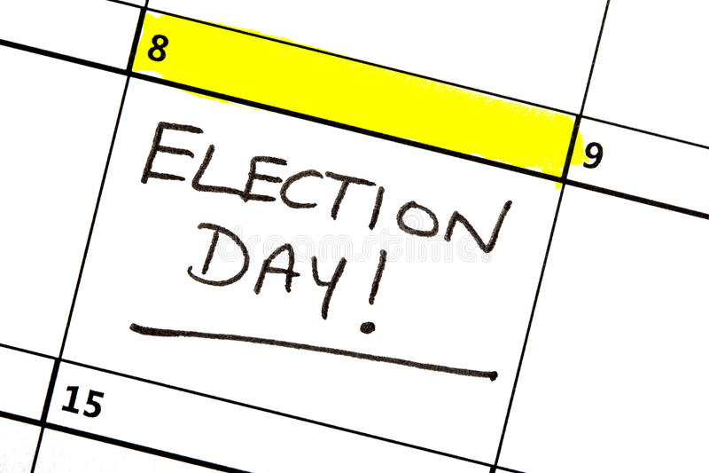 Wahltag hervorgehoben auf einem Kalender lizenzfreie stockbilder