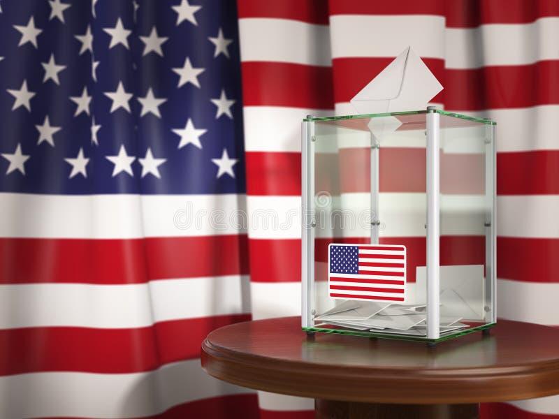 Wahlurne mit Flagge von USA und von Abstimmungspapieren Präsidential oder lizenzfreies stockfoto