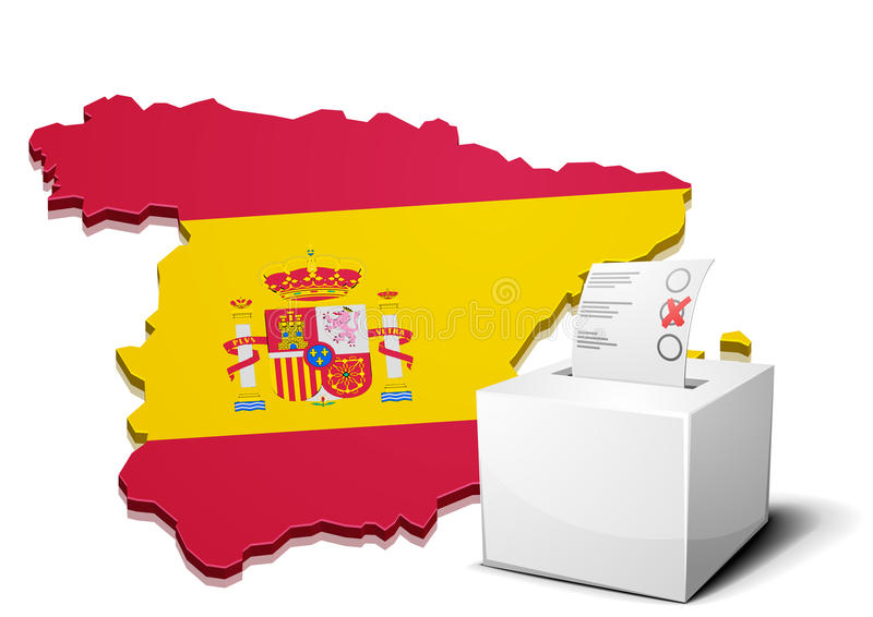 Wahlurne Spanien stock abbildung