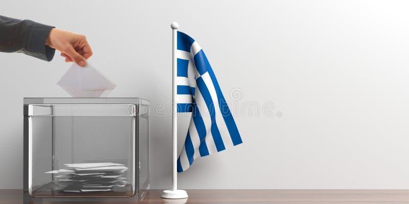 Wahlurne und eine kleine Griechenland-Flagge Abbildung 3D stock abbildung