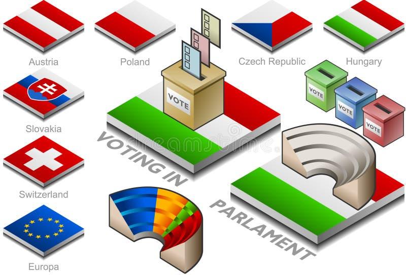 Wahlurne und parlament auf der Tastenmarkierungsfahne lizenzfreie abbildung