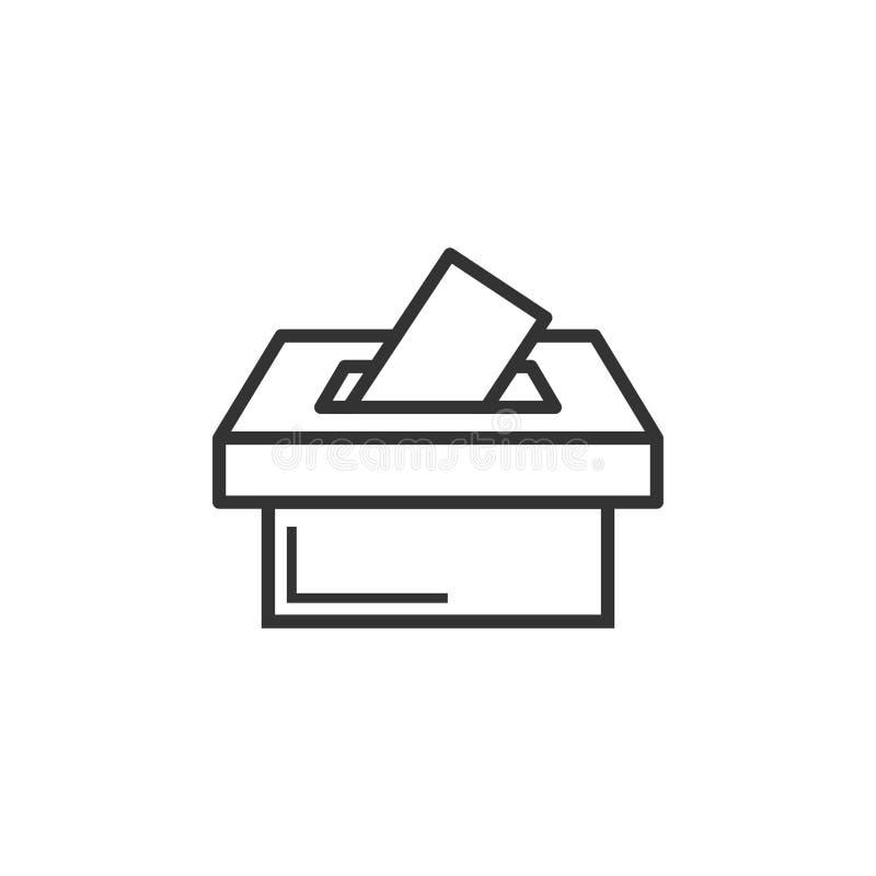 Wahlwähler-Kastenikone in der flachen Art Stimmzettelvorschlagsvektor stock abbildung