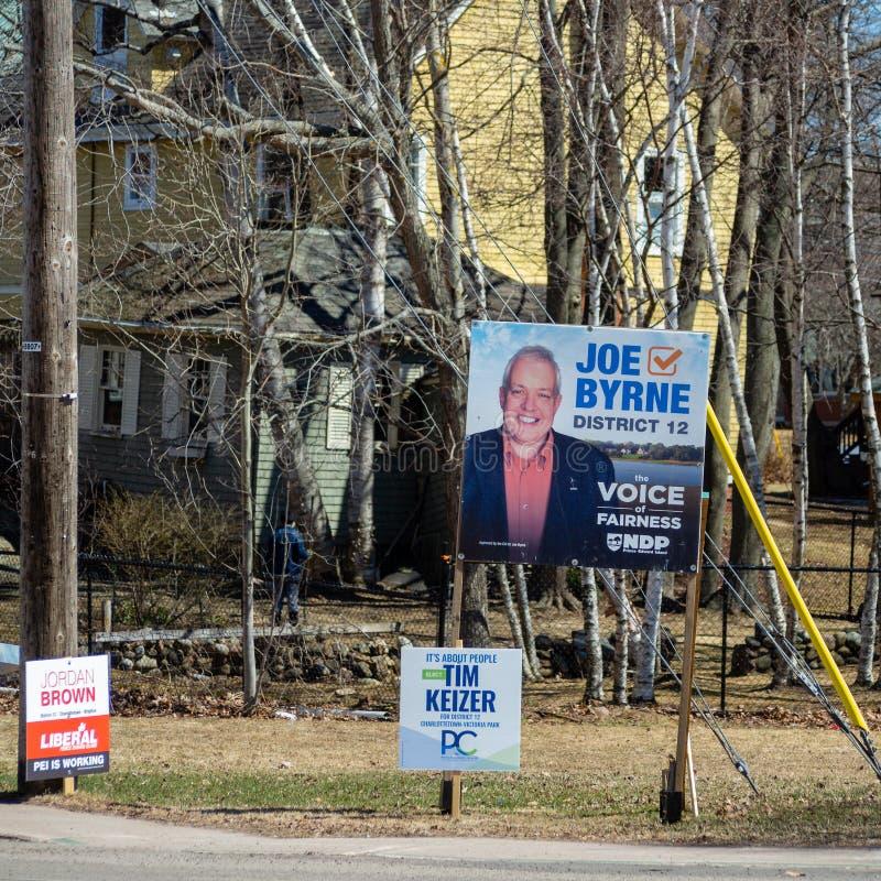 Wahlzeichen von NDP PEI, VON PEI-PC Partei und von liberalem PEI für die provinzielle Wahl 2019 in Charlottetown lizenzfreies stockbild