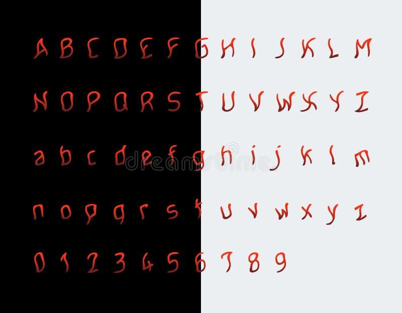 Wahnsinnigeguß, erschreckende Buchstaben und Zahlen lizenzfreie abbildung