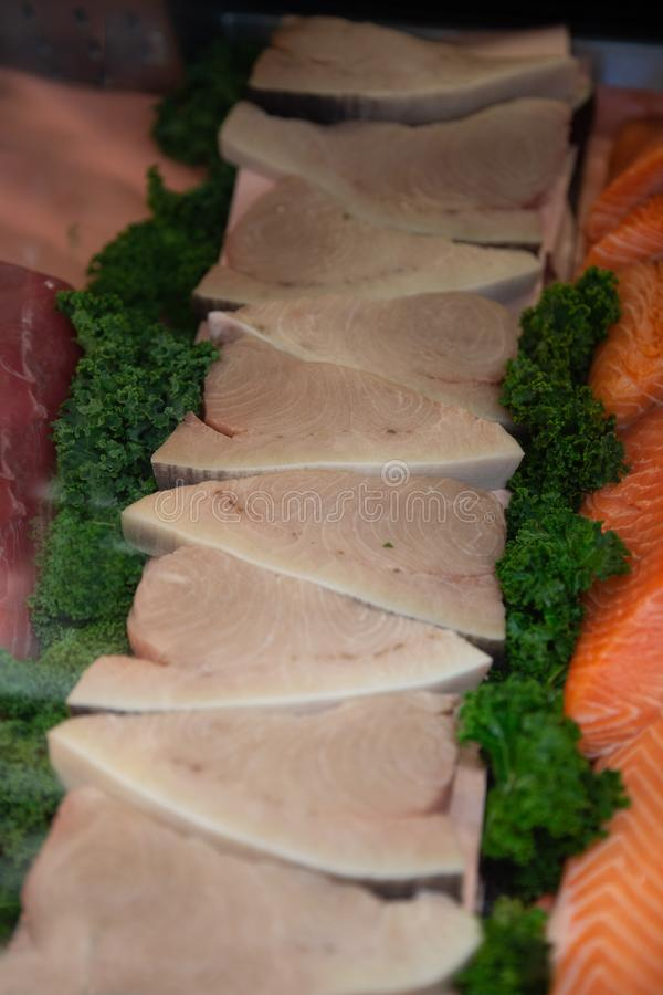 Wahoo Fish steaks stock photo