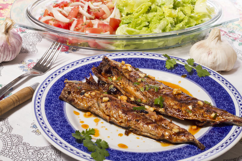 Wahoo grilled fish meal royalty free stock photos