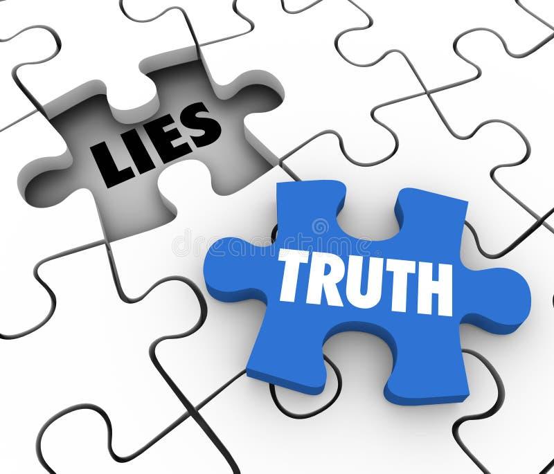Wahrheit gegen Lügen-Puzzlespiel-Stück-Wörter konkurrieren die ehrlichen ganzen Tatsachen lizenzfreie abbildung