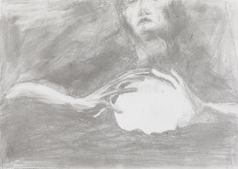 Wahrsager, Bleistift-Zeichnung stock abbildung