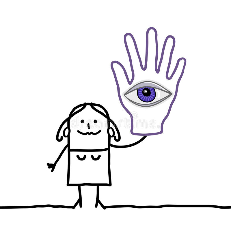 Wahrsager mit großem Auge in ihrer Hand lizenzfreie abbildung