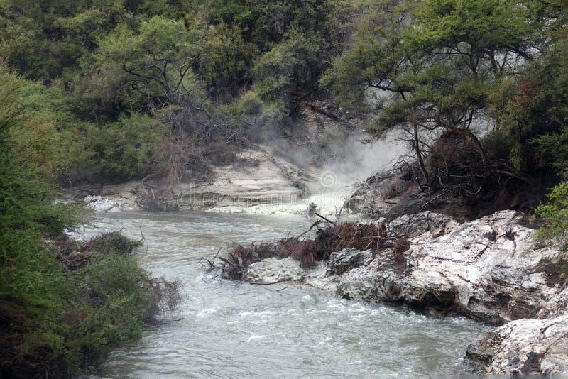 Wai-O-Tapu geotermisk flod i Rotorua, Nya Zeeland arkivbilder