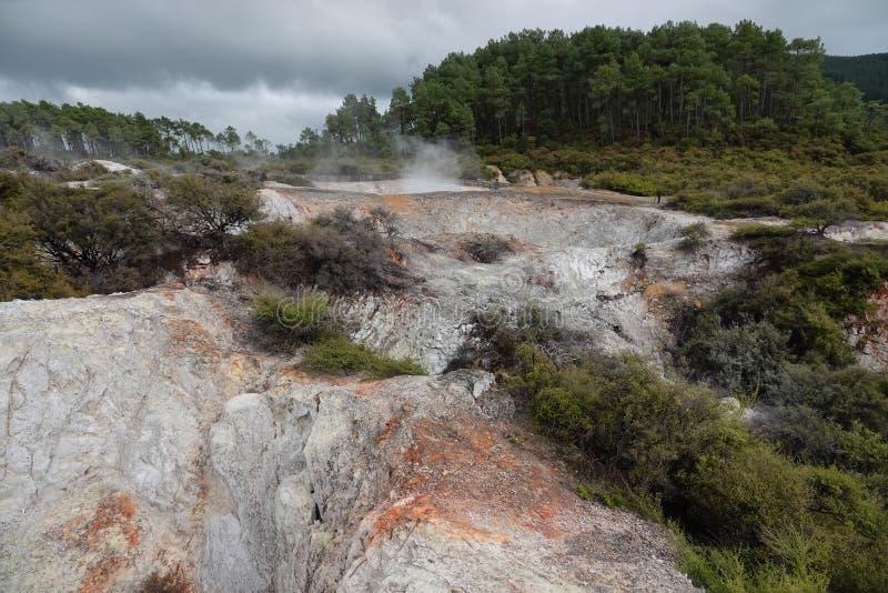 Wai-O-Tapu geotermiskt område i Rotorua, Nya Zeeland arkivfoto