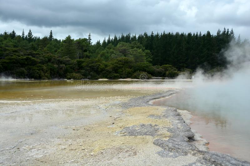 Wai-O-Tapu Thermal Wonderland. The most visited Wai-O-Tapu Thermal Wonderland, Rotorua, New Zealand stock photography