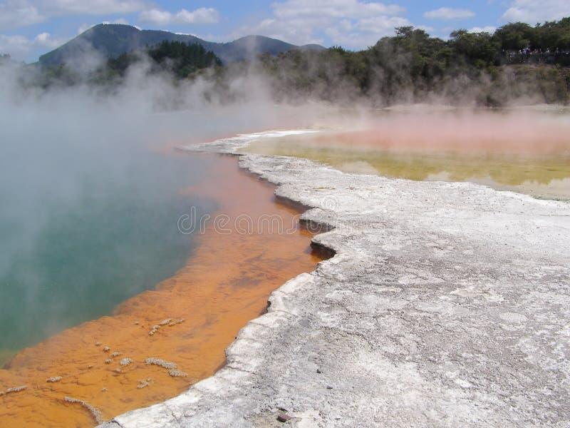 Wai-O-Tapu Thermal Wonderland New Zealand. Champagne Pool. Vulcanic and geo termal area in New Zealand royalty free stock photo