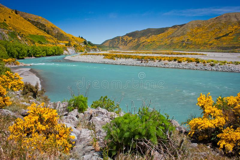 Waiau river at Hanmer Springs town, NZ stock images